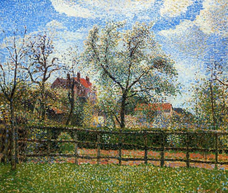 Pear Tress in Bloom, Eragny, Morning. (1886). Camille Pissarro