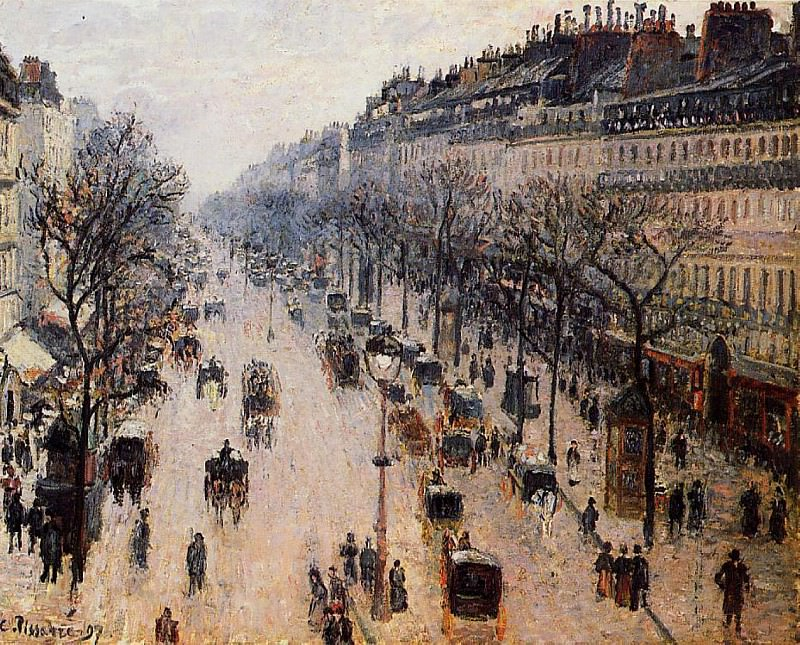 Boulevard Montmartre - Winter Morning. (1897). Camille Pissarro