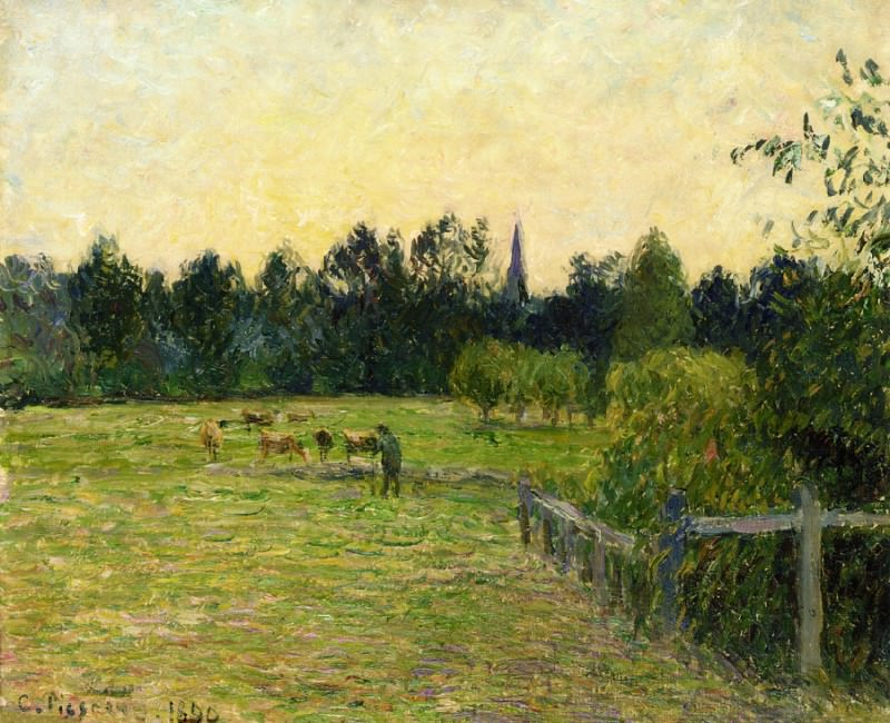 Cowherd in a Field at Eragny. (1890). Camille Pissarro