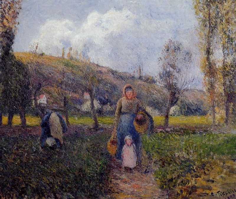 Peasant Woman and Child Harvesting the Fields, Pontoise. (1882). Camille Pissarro