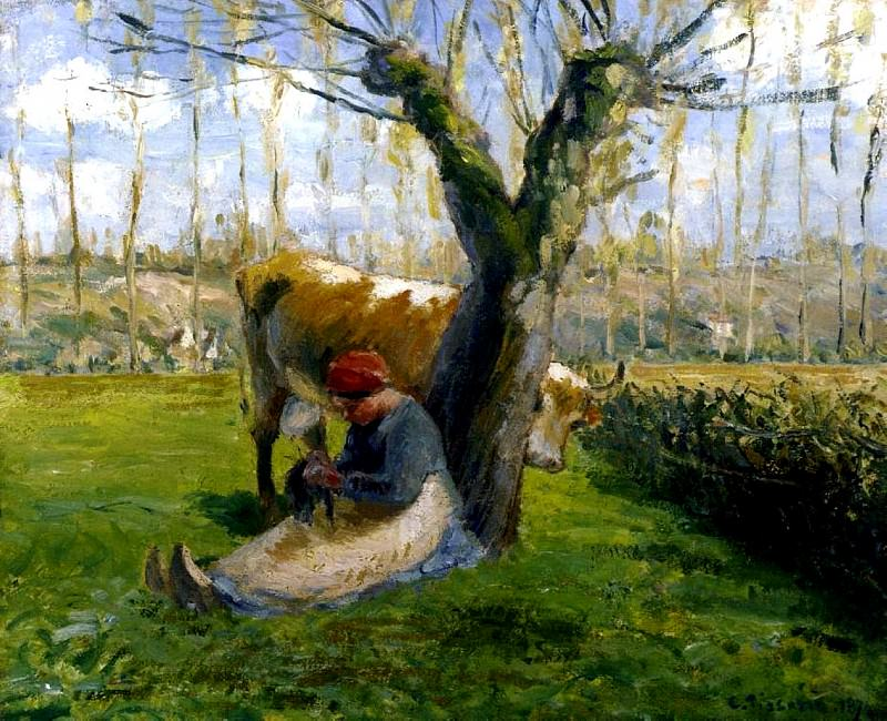 The Cowherd. (1874). Camille Pissarro