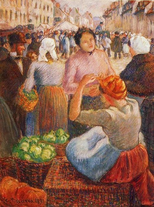 Marketplace, Gisors. (1891). Camille Pissarro