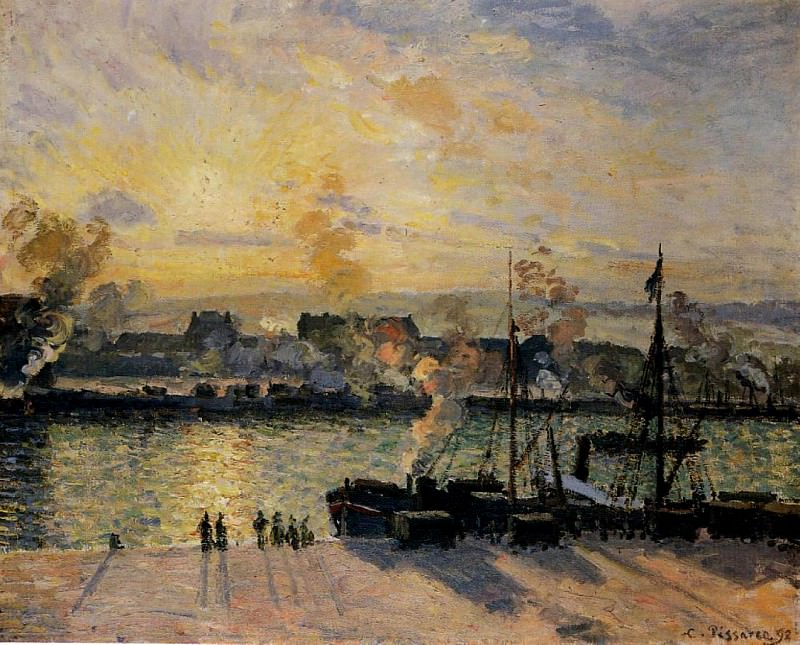 Закат, Руанский порт (1898). Камиль Писсарро
