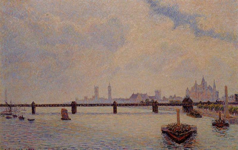 Charing Cross Bridge, London. (1890). Camille Pissarro