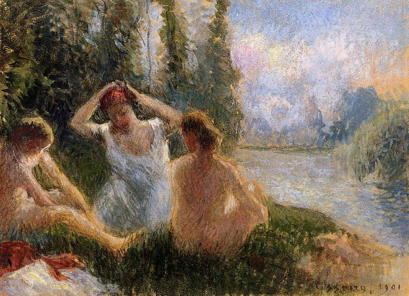Bathers Seated on the Banks of a River. (1901). Camille Pissarro