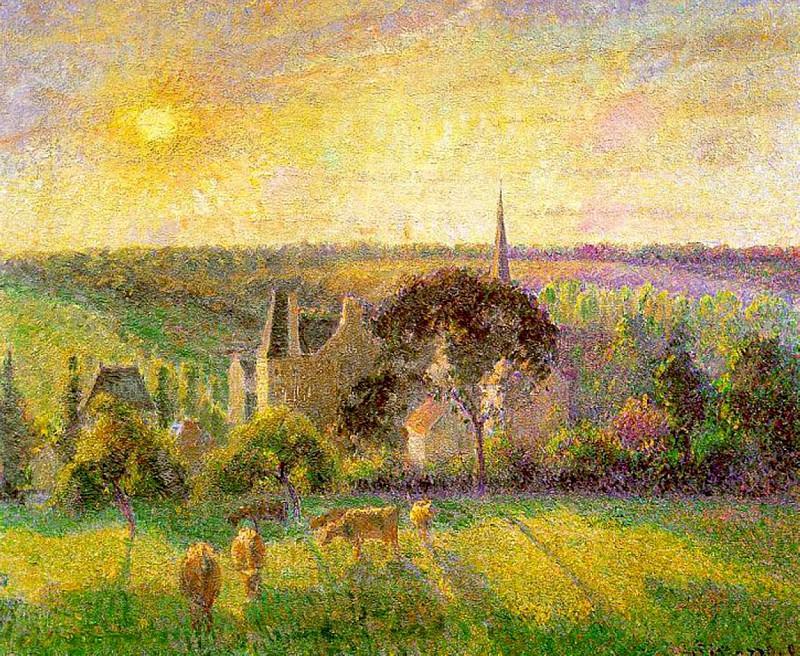 Пейзаж. Церковь и ферма в Эраньи 1895. Камиль Писсарро