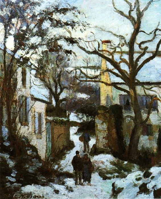 The Road to LHermitage in Snow. (1874). Camille Pissarro