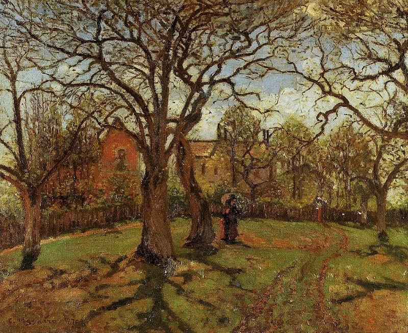 Chestnut Trees, Louveciennes, Spring. (1870). Camille Pissarro