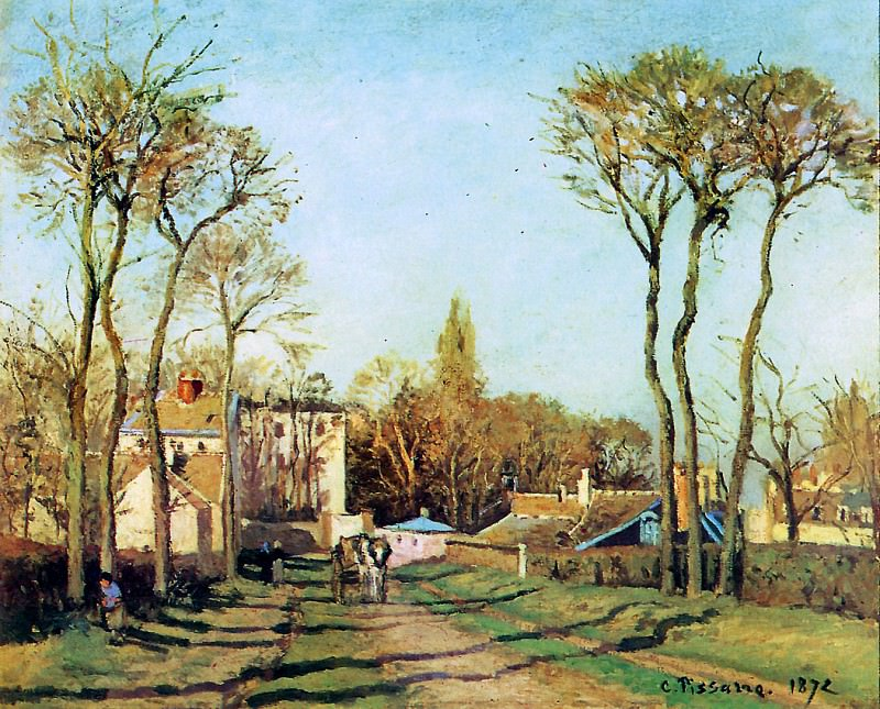 Entry into the village of Voisins. Camille Pissarro