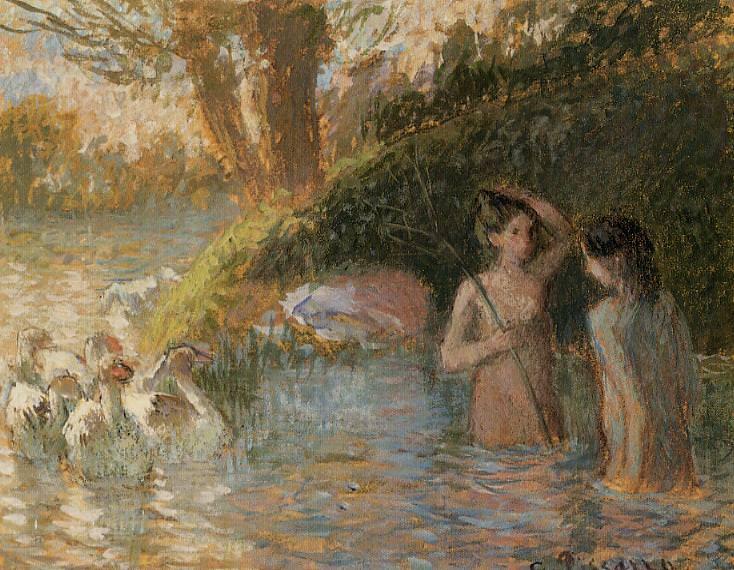 Bathing Goose Maidens. Camille Pissarro