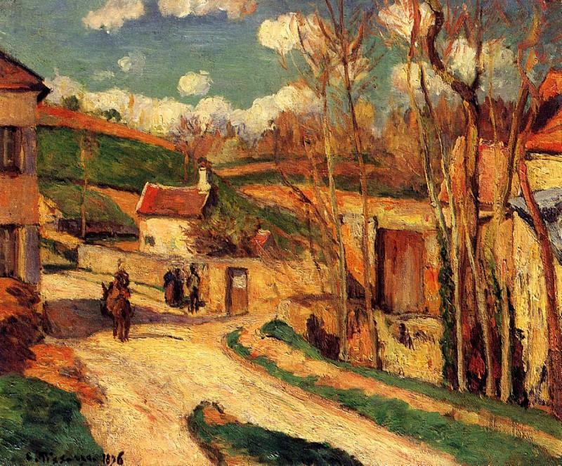 Перекресток в деревне, Понтуаз (1876). Камиль Писсарро