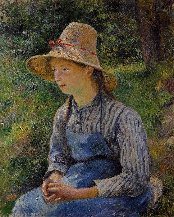 Young Peasant Girl Wearing a Hat. (1881). Camille Pissarro