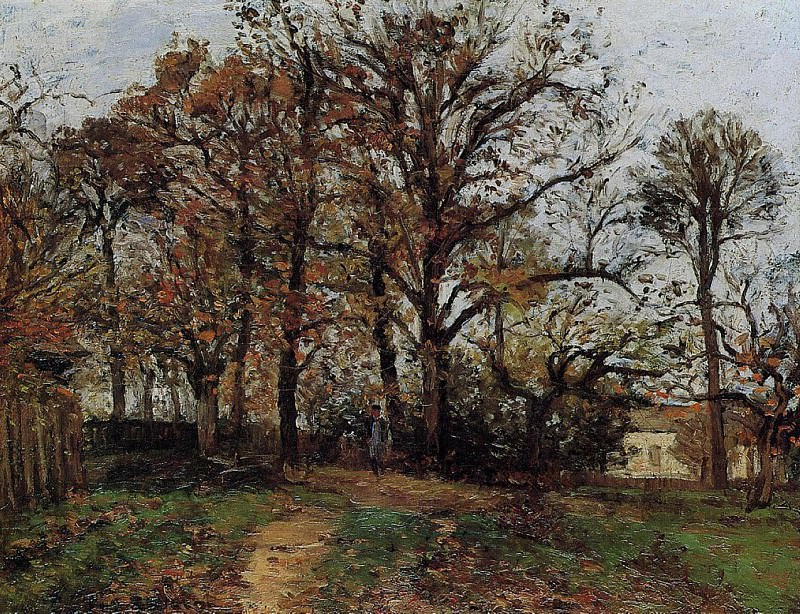 Trees on a Hill, Autumn, Landscape in Louveciennes. (1872). Camille Pissarro