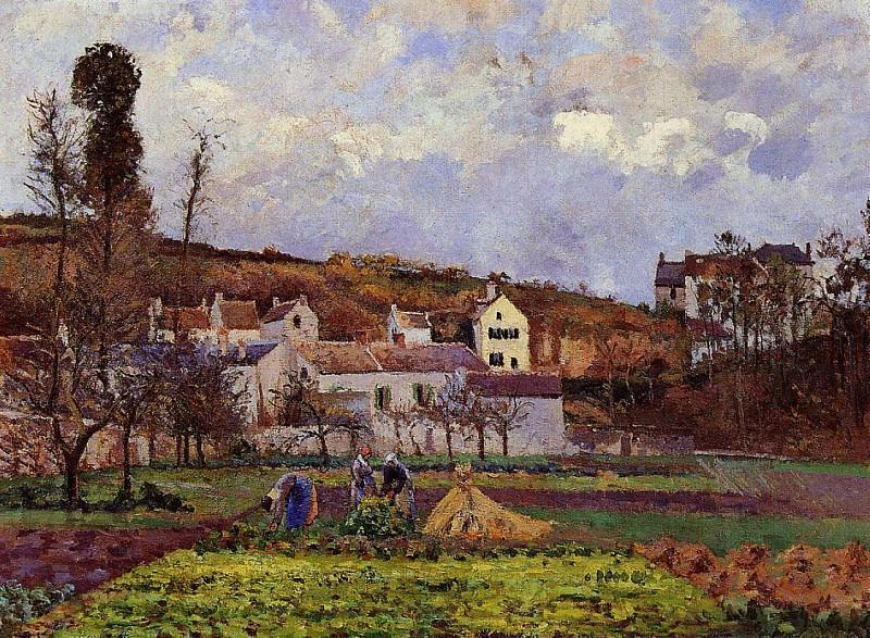 Kitchen Gardens at lHermitage, Pontoise. (1873). Camille Pissarro