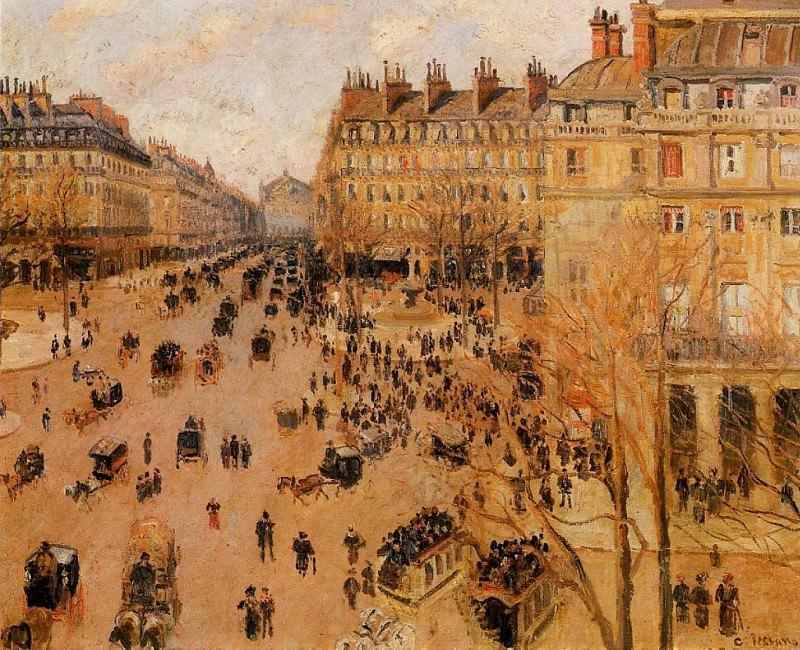 Площадь Французского Театра - впечатление от яркого солнца (1898). Камиль Писсарро