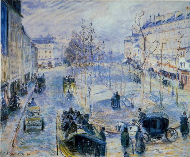 Boulevard de Clichy, Winter, Sunlight Effect. (1880). Camille Pissarro