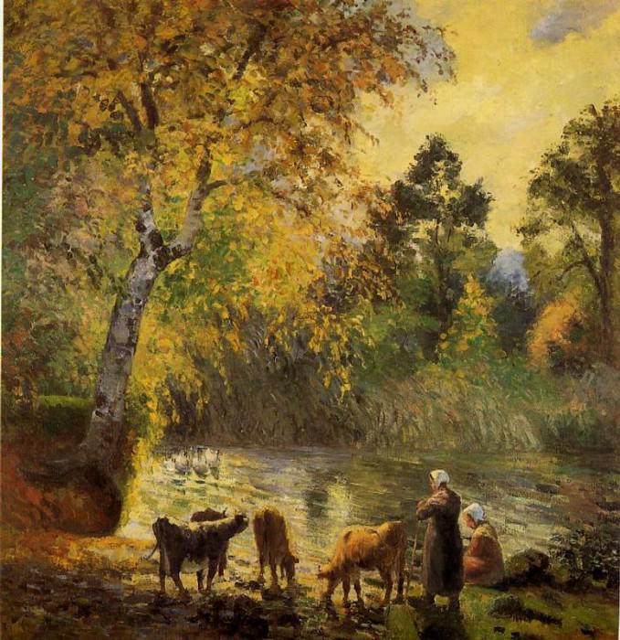 Autumn, Montfoucault Pond. (1875). Camille Pissarro
