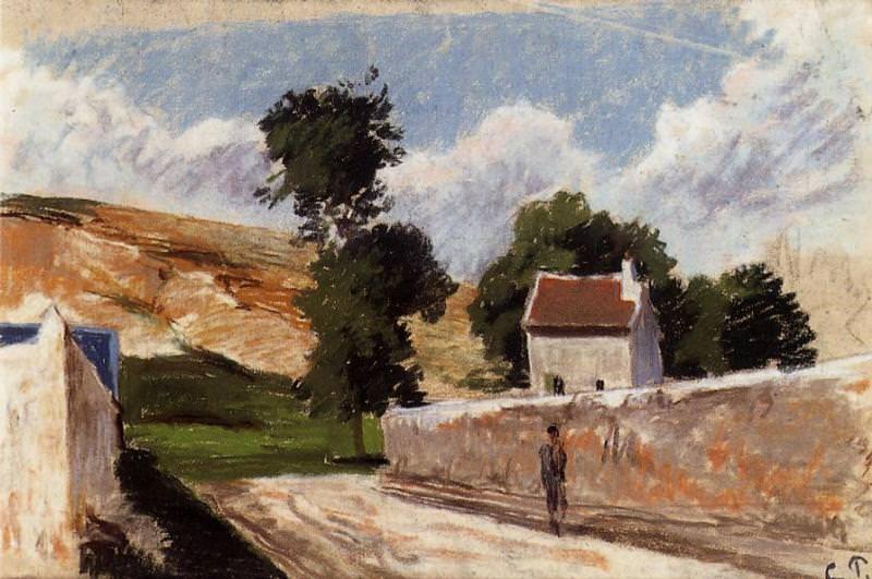 A Street in lHermitage, Pontoise. (1874). Camille Pissarro