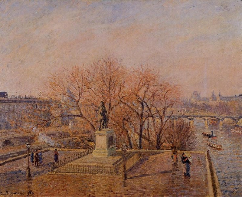 Ponty-Neuf, the Statue of Henri IV, Sunny Weather, Morning. (1900). Camille Pissarro