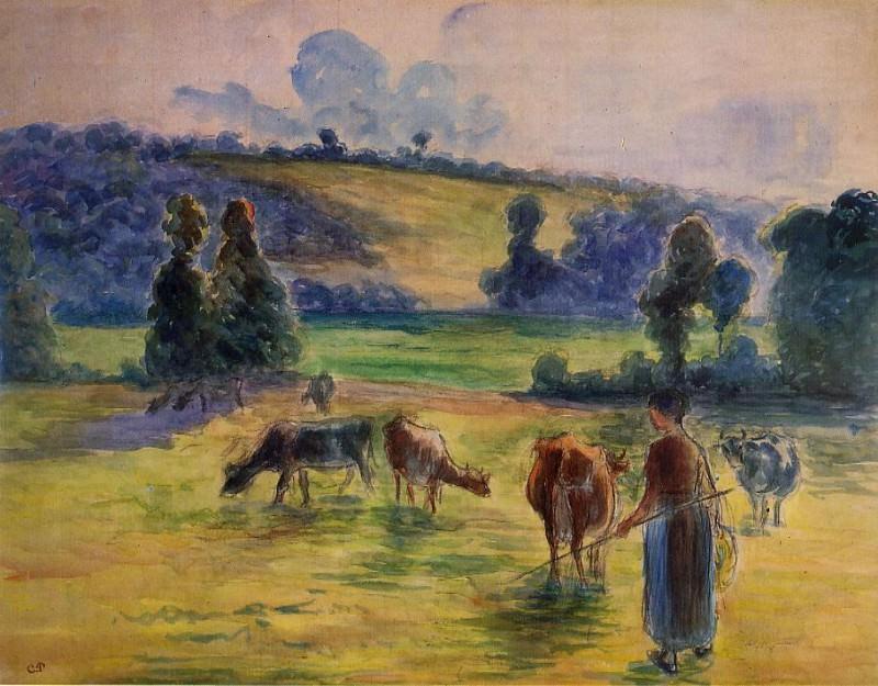 Study for Cowherd at Eragny. (1884). Camille Pissarro