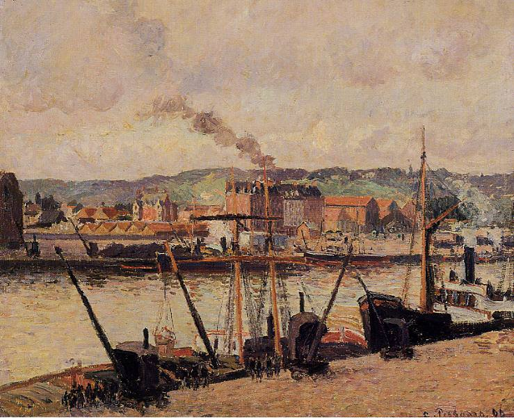Morning, Rouen, the Quays. (1896). Camille Pissarro