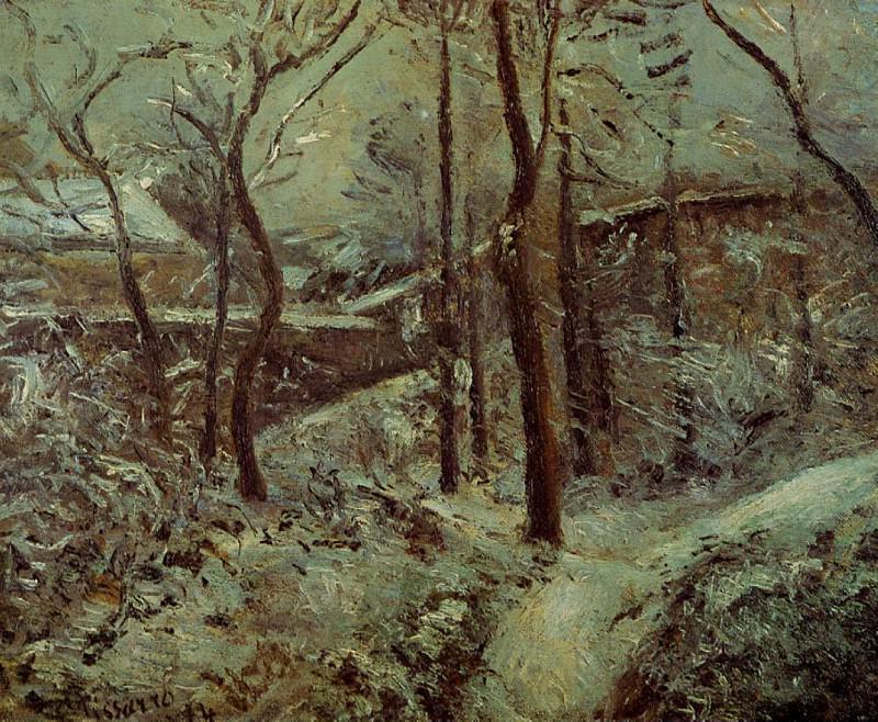 La sente des pouillsux, Pontoise, effet de niege. (1874). Camille Pissarro