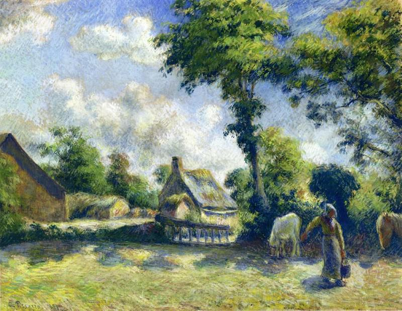 Landscape at Melleray, Woman Carrying Water to Horses. (1881). Camille Pissarro