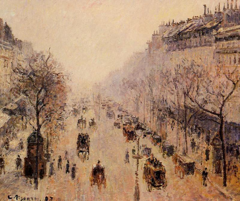 Boulevard Montmartre - Morning, Sunlight and Mist. (1897). Camille Pissarro