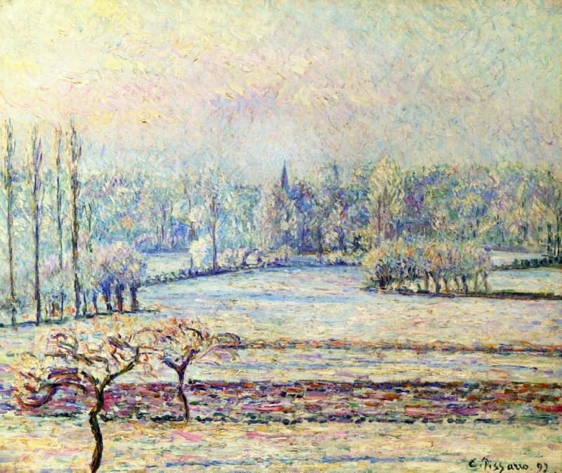View of Bazincourt, Frost, Morning. (1892). Camille Pissarro