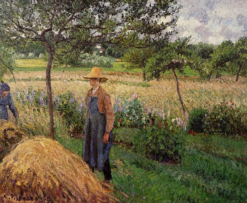 Grey Weather, Morning with Figures, Egagny. (1899). Camille Pissarro