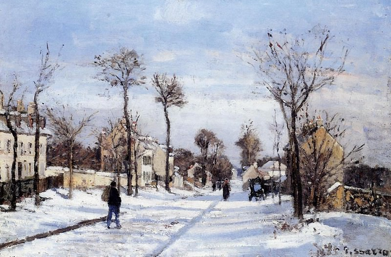 Street in the Snow, Louveciennes. (1872). Camille Pissarro