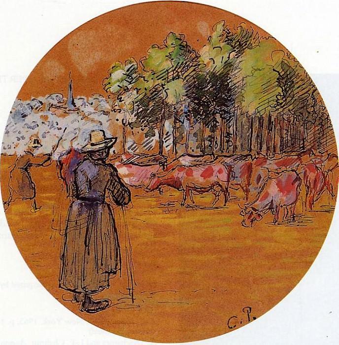 Cowherds, Bazincourt. (1890). Camille Pissarro