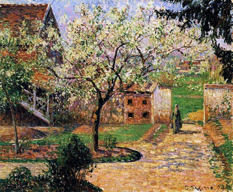 Flowering Plum Tree, Eragny. (1894). Camille Pissarro