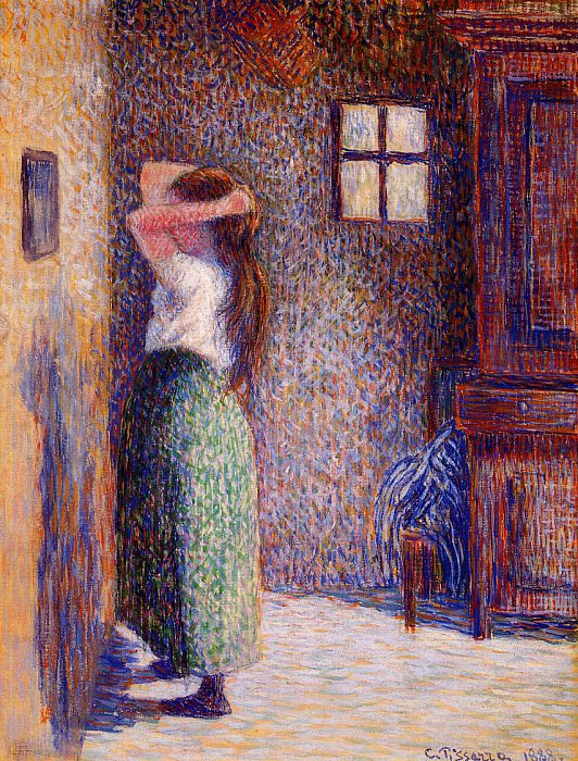 Young Peasant at Her Toilette. (1888). Camille Pissarro