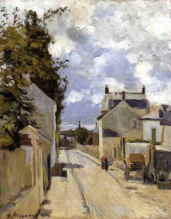 Улица в селении Эрмитаж, Понтуаз (1874). Камиль Писсарро