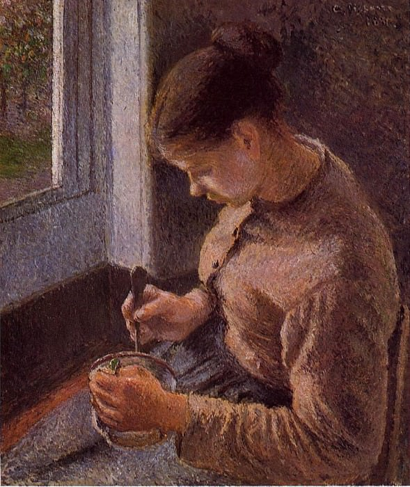 Breakfast, Young Peasant Woman Taking Her Coffee. (1881). Camille Pissarro