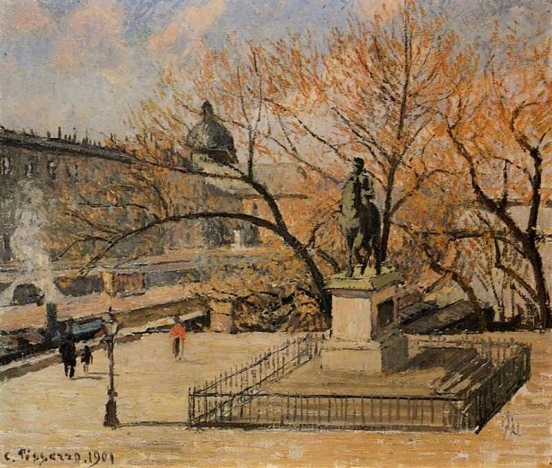The Pont-Neuf, Statue of Henri IV, Morning, Sun. (1901). Camille Pissarro