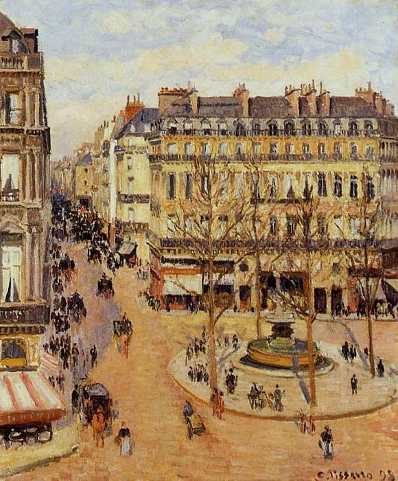 Rue Saint-Honore - Morning Sun Effect, Place du Theatre Francais. (1898). Camille Pissarro