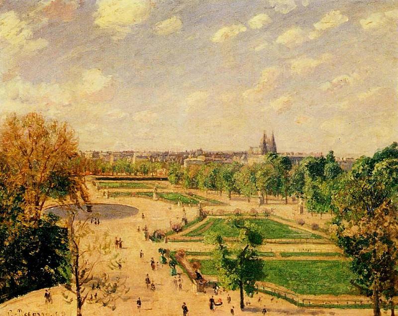 The Tuilleries Gardens - Morning, Spring, Sun. (1899). Camille Pissarro