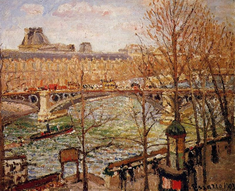 The Pont du Carrousel, Afternoon. (1903). Camille Pissarro