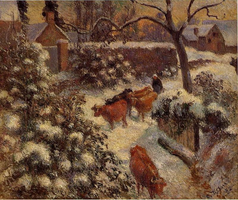 Snow Effect in Montfoucault. (1882). Camille Pissarro