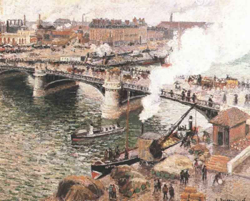 Pissarro Bouidieu Bridge, Rouen, Damp Weather, 1896, Art gal. Camille Pissarro