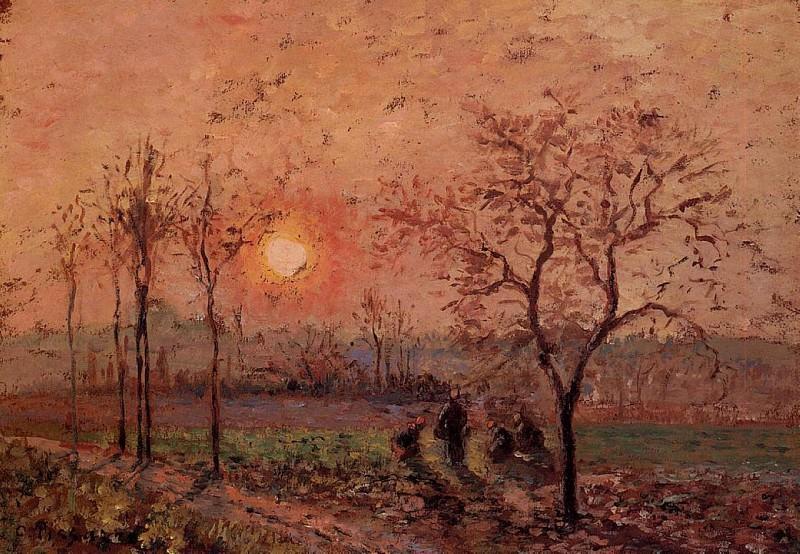 Sunset. (1872). Camille Pissarro