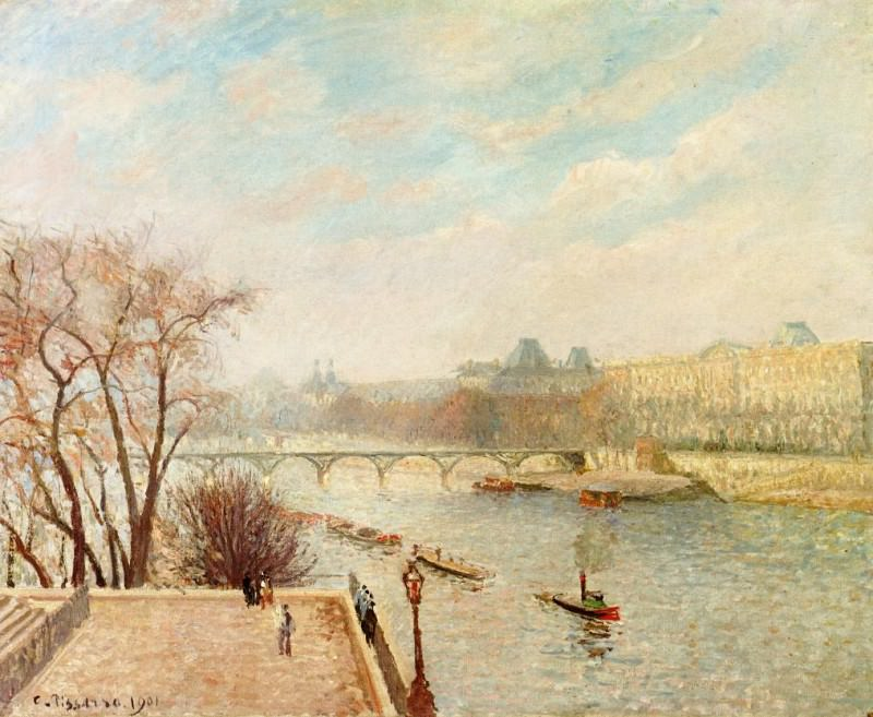 The Louvre, Winter Sunlight, Morning, 2nd Version. (1901). Camille Pissarro