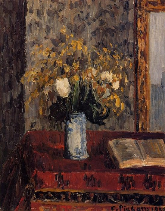 Vase of Flowers, Tulips and Garnets. (1900). Camille Pissarro