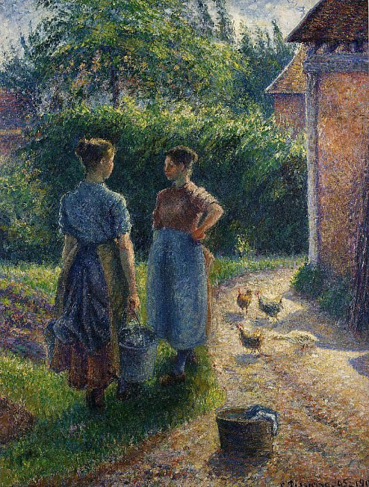 Peasants Chatting in the Farmyard, Eragny. (1895-02). Camille Pissarro