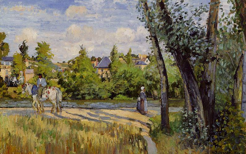 Landscape, Bright Sunlight, Pontoise. (1874). Camille Pissarro