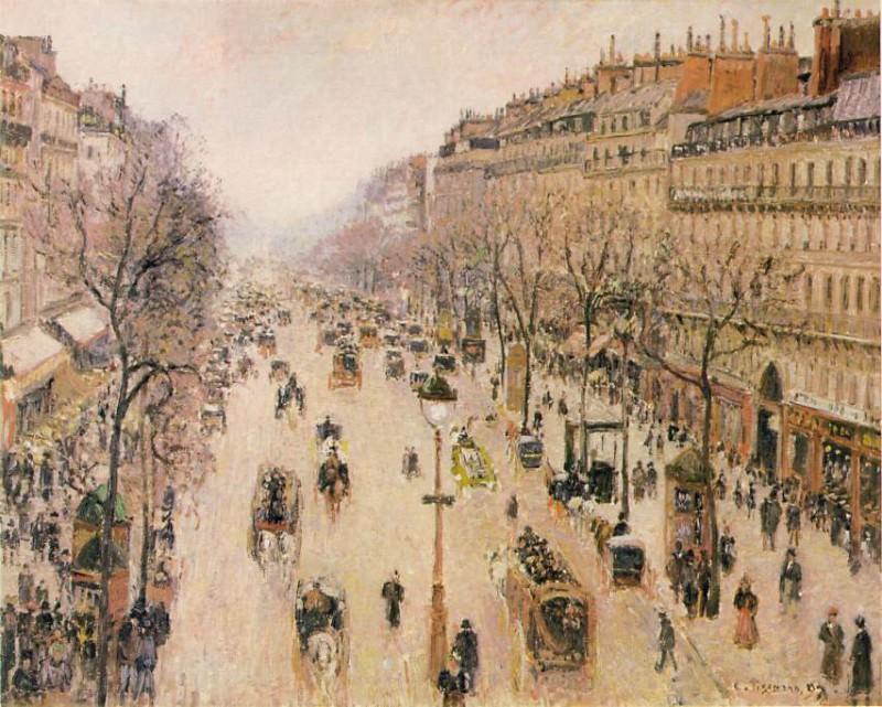Бульвар Монмартр. Утро, ненастная погода. Камиль Писсарро