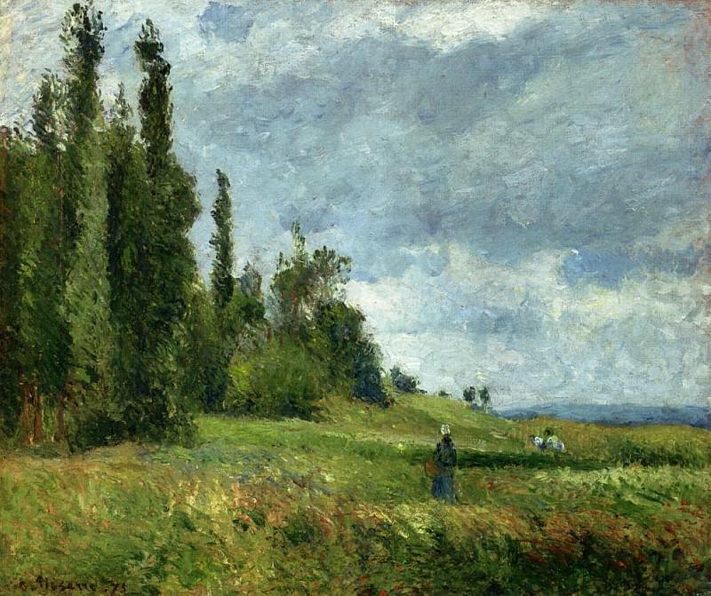 Холм Гроэтте, Понтуаз, хмурое небо (1875). Камиль Писсарро