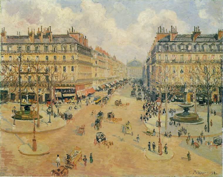 Pissarro Avenue de lOpera. Morning Sunshine, 1898, 65x81 cm. Camille Pissarro